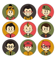 Set icons with characters Different professions vector