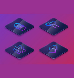set isometric line flowers in a basket music note vector image