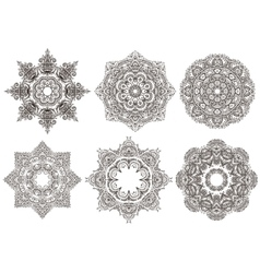 Set of 6 hand drawn oriental mandala vector image
