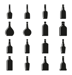Set of bottles silhouettes vector image