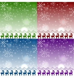 Set of christmas reindeers pattens vector
