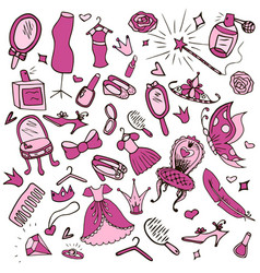 set of objects for girls vector image