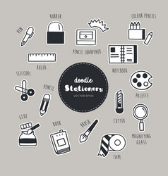 set of stationary icons doodle vector image