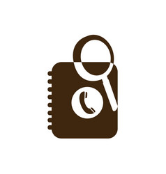 Silhouette magnifying glass with phone book icon vector
