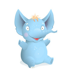 sitting cute baelephant cartoon for kids vector image