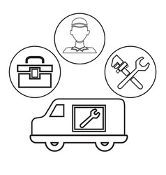 Sketch contour vehicle with icons in circular vector