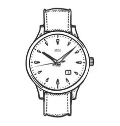 Sketch retro wrist watch vector