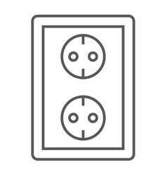 socket thin line icon electricity and voltage vector image