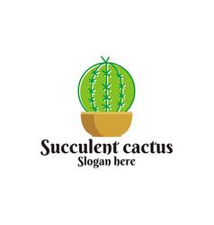 succulent cactus logo vector image