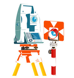 total station and geodetic reflector silhouette vector image