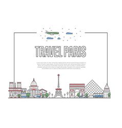 travel paris poster in linear style vector image