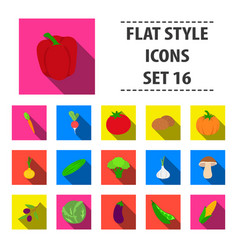 vegetables set icons in flat style big collection vector image