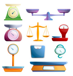 Weigh scales icons set cartoon style vector