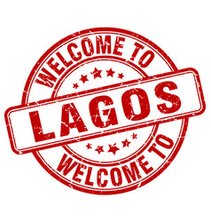 Welcome to lagos red round vintage stamp vector