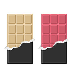 white and ruby chocolate bar set on white vector image