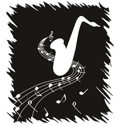 White silhouette of saxophone on black background vector