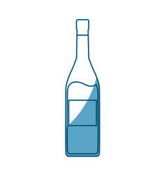 Wine bottle drink beverage outline icon shadow vector