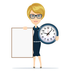 Woman holding a blank poster and clock vector