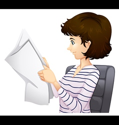 Woman reading paper vector image
