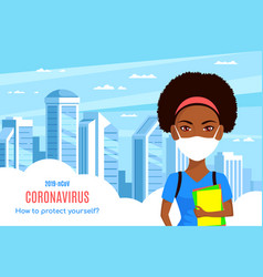 woman wearing medical face mask in big city vector image