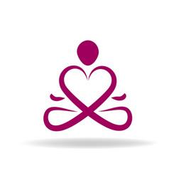 yoga heart symbol vector image