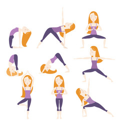 Yoga poses set vector