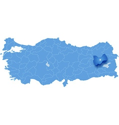 Map of Turkey Mus vector image vector image