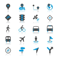 Navigation flat with reflection icons vector image vector image