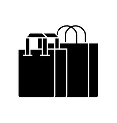 shopping bags icon black vector image vector image