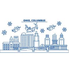 usa ohio columbus winter city skyline merry vector image