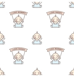 Baby boy with love mommy and daddy posters vector