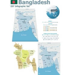 Bangladesh maps with markers vector image vector image
