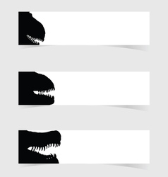 dinosaurus head with white banner set one vector image