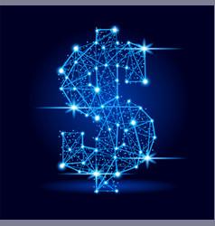 dollar sign futuristic polygonal line space stars vector image