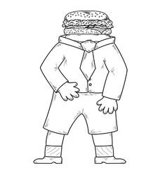 hamburger head vector image