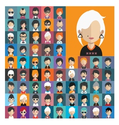 Set of people icons in flat style with faces 17 a vector image vector image