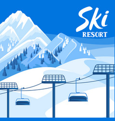 Winter ski resort beautiful vector