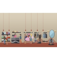 Fashion woman clothes store interior vector image vector image