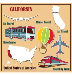 Flat map of California vector image vector image