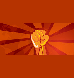 hand fist revolution symbol of resistance fight vector image