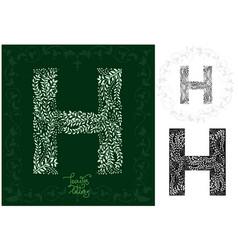 leaves alphabet letter h vector image vector image