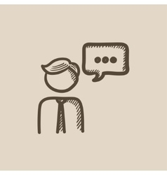 Man with speech square sketch icon vector image vector image