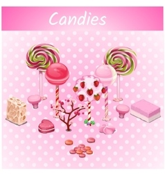 Original candy trees on a pink point background vector image