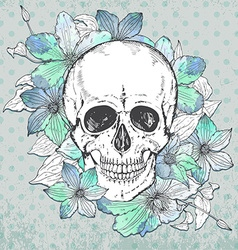 with hand drawn human skull clematis flower vector image vector image