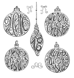 Christmas balls letteringcard elements setBlack vector image