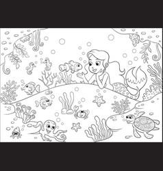 cute cartoon mermaid underwater world for vector image vector image