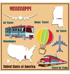 Flat map of Mississippi vector image