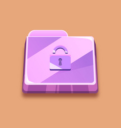 purple folder with a lock an antivirus icon vector image