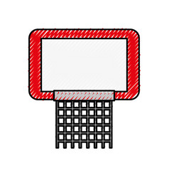 scribble red basketball hoop vector image