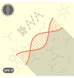 Simple dna icon on yellow background vector